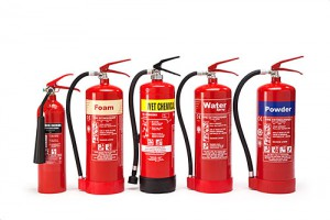 Fire extinguishers for sales personnel line of different fire extinguishers