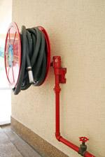 Fire hose reel course fire hose reel on wall