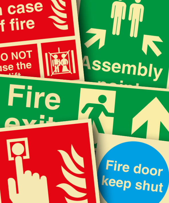 Montage of fire safety signage